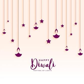 Beautiful hanging diya and stars decoration
