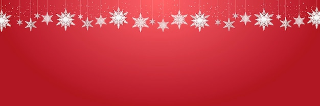 Beautiful hanging snowflakes and falling snow on red background suit for christmas, new year, and winter banner, greeting card