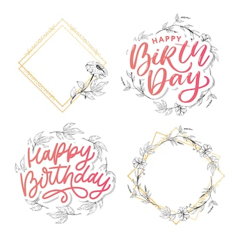 Beautiful happy birthday greeting card with flowers and bird. vector party invitation with floral elements.