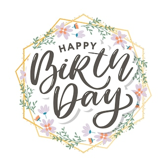 Beautiful happy birthday greeting  with flowers