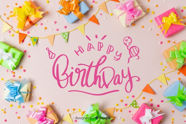 Beautiful happy birthday lettering with photo