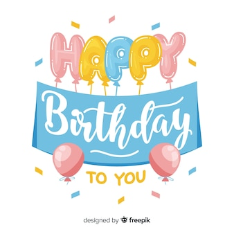 Beautiful happy birthday lettering