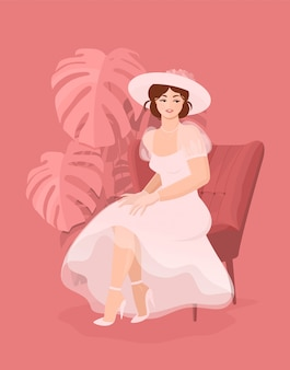 Beautiful happy bride in white dress, gloves and a hat sitting on a chair