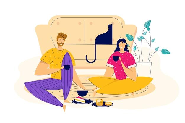 美しい幸せなカップル。恋をしている男性と女性のキャラクターが抱き合っています。ソーシャルメディア、招待状、ギフトカード、ポスター、クーポン、チラシの女の子と男の子の恋に落ちる背景漫画イラスト