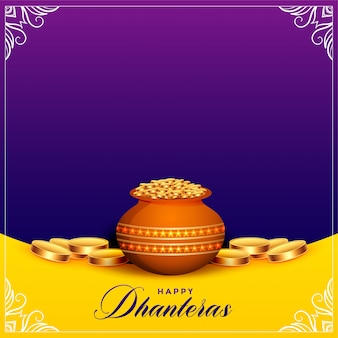 Beautiful happy dhanteras festival card with text space