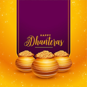 Beautiful happy dhanteras golden coins background design