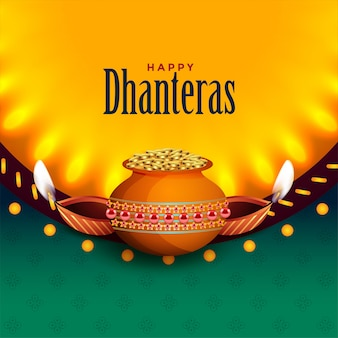 Beautiful happy dhanteras with light effect