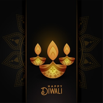 Beautiful happy diwali dark greeting background