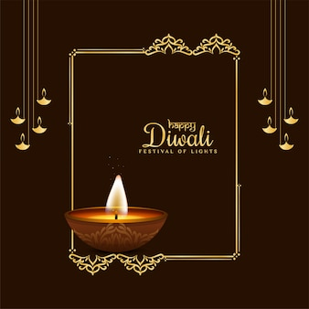 Beautiful happy diwali decorative frame background