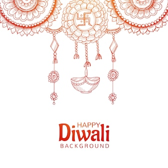 Beautiful happy diwali decorative hanging diya sketch design