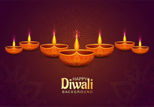Bello fondo decorativo felice della carta della lampada a olio di diwali