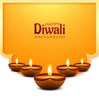 Beautiful happy diwali decorative oil lamp card background