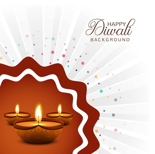 Beautiful happy diwali diya oil lamp festival decorative