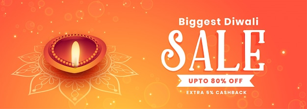Beautiful happy diwali festival sale banner