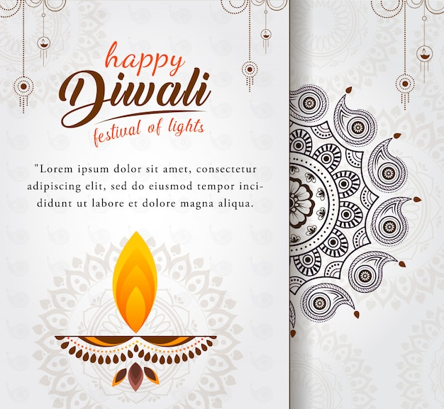 Beautiful happy diwali greeting with  diya for festival of lights