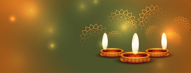 Beautiful happy diwali shiny banner with text space