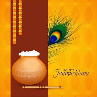 Beautiful happy janmashtami festival vector background
