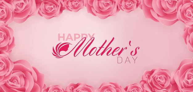 Beautiful happy mothers day banner ad design template