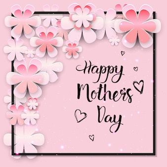 Beautiful happy mothers day greeting card design