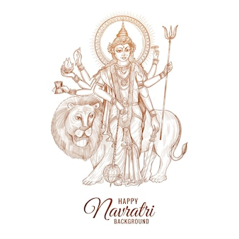 Beautiful happy navratri illustration