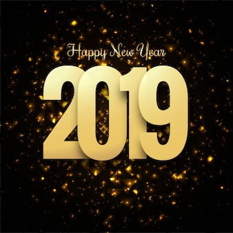 Beautiful happy new year 2019 text design