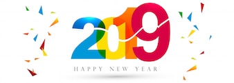 Beautiful Happy New Year 2019 text festival banner