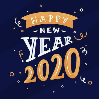 Beautiful happy new year 2020 lettering