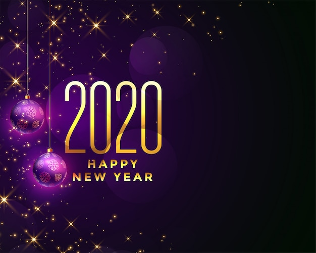 Beautiful happy new year 2020 sparkles background