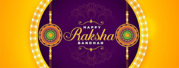 Beautiful happy raksha bandhan traditional festival banner