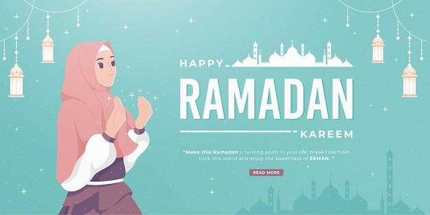 Beautiful happy ramadan mubarak banner with girl praying