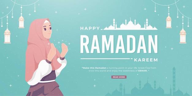 Beautiful happy ramadan mubarak banner with girl praying Premium Vector