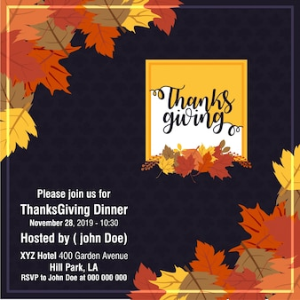 Beautiful happy thanksgiving day invitation