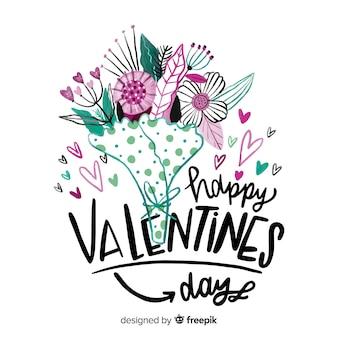 Beautiful happy valentine lettering