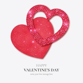 リアルなキラキラハートテンプレートと美しい幸せなバレンタインデーカード