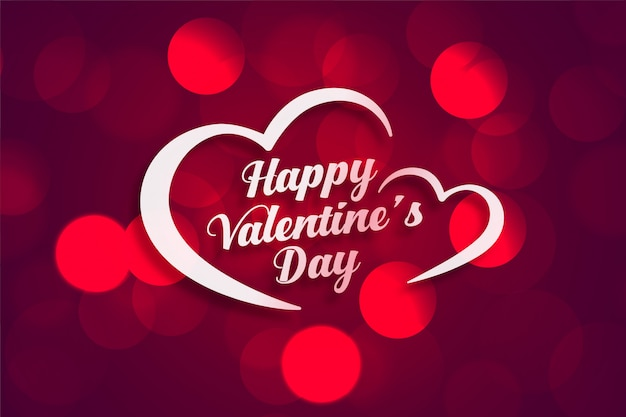 Beautiful happy valentines day greeting card with bokeh light effect