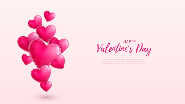 Beautiful happy valentines day wallpaper. pink crystal flying hearts and text on pastel pink background. low-poly style love symbol.  illustration for postcard, flyer, invitation, poster, banner