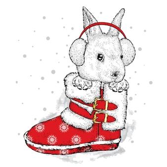 Красивый заяц в зимних наушниках.