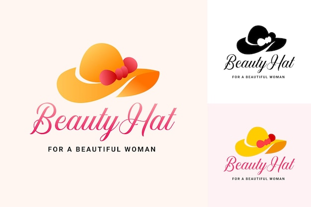 미용 및 패션 브랜드에 대한 아름다운 모자 로고 일러스트 세트