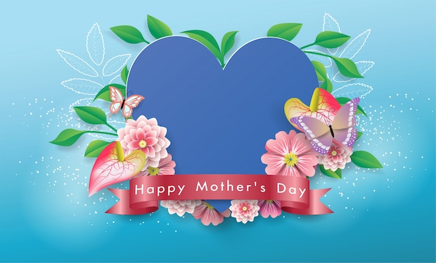 Beautiful heart banner happy mother's day greeting card