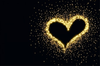 Beautiful heart made with sparkles background