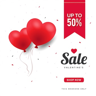 Beautiful hearts balloonsバレンタインデーセールバナー