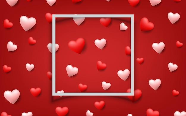 진한 빨간색 배경에 발렌타인의 흰색 프레임 주위에 떠있는 아름 다운 마음. 사랑의 테마