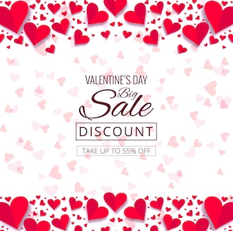 Beautiful hearts valentine's day decorative background illustration