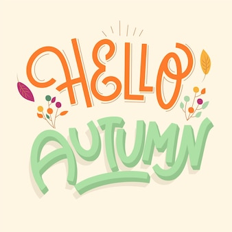 Beautiful hello autumn lettering with leaves