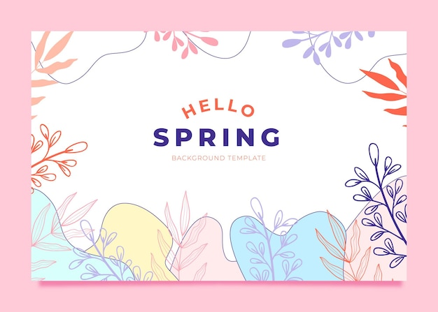 美しいこんにちは春の背景テンプレート