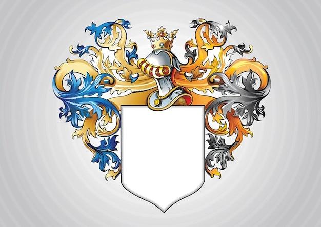 Beautiful heraldic shield with ribbons