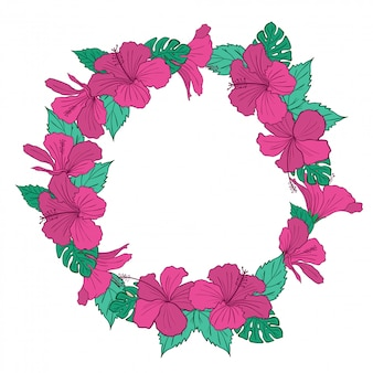 Beautiful hibiscus floral frame
