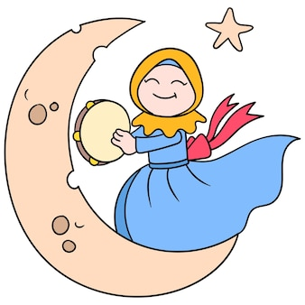 Beautiful hijab muslim women are dancing on the moon, vector illustration art. doodle icon image kawaii.