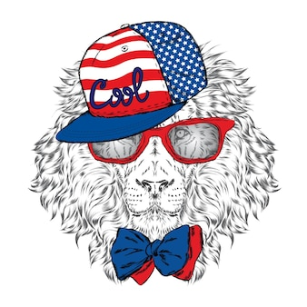 Beautiful hipster lion in stylish clothes