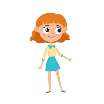 Beautiful hipster woman in stylish clothes, cartoon  illustrations isolated on white background. happy curly red haired teenager girl in dress